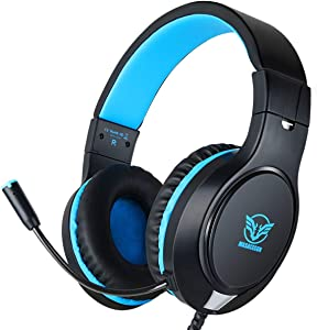 Gaming Headset for Xbox One, PS4, Nintendo Switch, ifmeyasi Stereo Bass Surround 3.5mm Headsets, Over-Ear Headphones with Noise Cancelling Micophone for Laptop PC Mac iPad Smartphones (Blue)