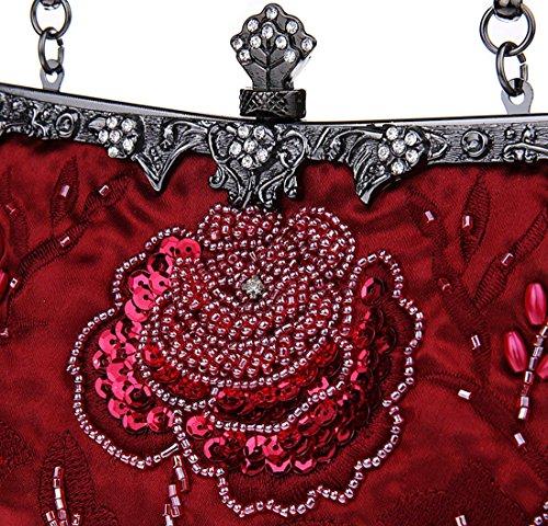 Rosso Retro Donne Kaxidy Sacchetto Vino Sera Da Eleganti Pochette Fiori Borsa BS6qz
