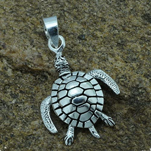 Turtle Moving Oxidized Pendant  4 g Solid 925 Sterling Silver BELDIAMO