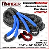 """Ranger Rope 3/4"""" x 20' Commercial Reliability Kinetic Recovery Tow Rope by Ultranger (Breaking Strength 9 Tons 20000 LBs)"""