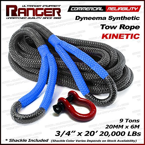 Ranger Rope 3/4″ x 20′ Commercial Reliability Kinetic Recovery Tow Rope by Ultranger (Breaking Strength 9 Tons 20,000 LBs)