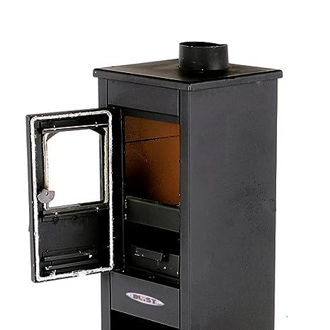Ekonomik Lux LM - Estufa de leña de 7 kW en acero, color antracita. Para la calefacción de los ambientes de la casa: Amazon.es: Hogar