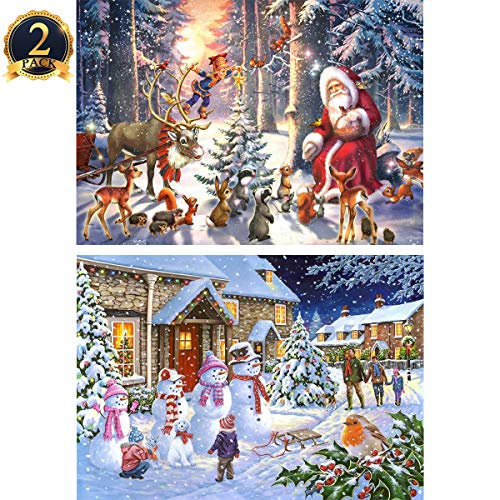 (5D Diamond Painting Full Drill by Number Kits Christmas Decoration for Adults Kids, DIY Rhinestone Pasted Paint Set Arts Craft 2 Pack by Yomiie, Santa Forest (12x16inch) & Snowman Family (12x16inch))