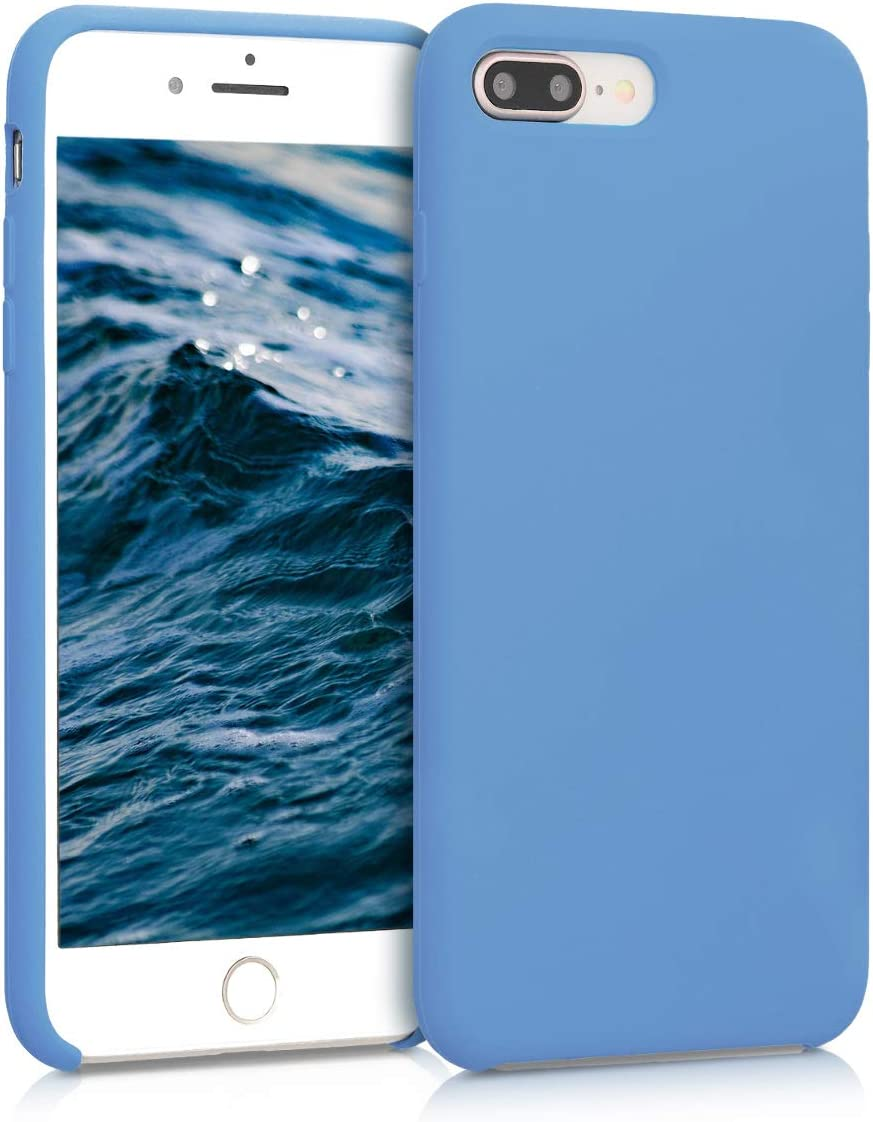 kwmobile TPU Silicone Case Compatible with Apple iPhone 7 Plus / 8 Plus - Soft Flexible Rubber Protective Cover - Azure Blue