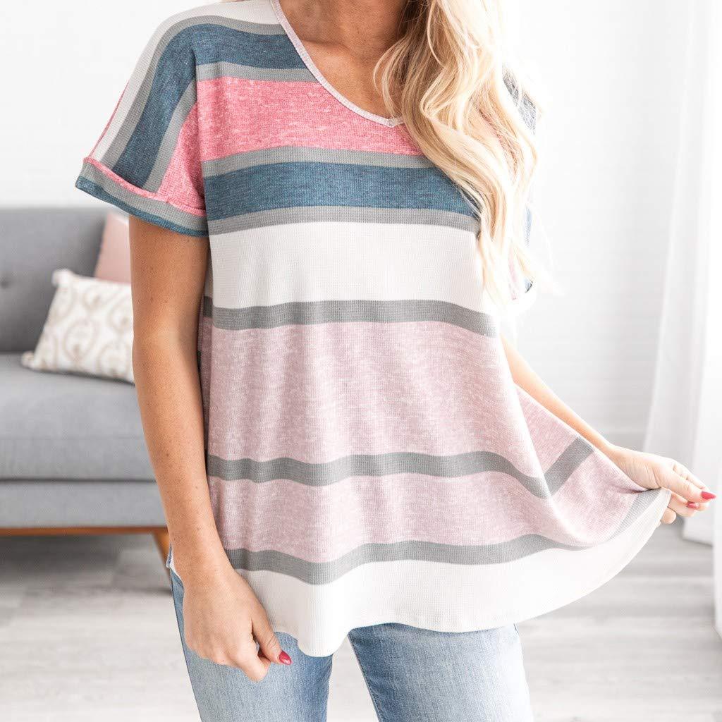 TOPKEAL Tshirt Cotone Moda Donna O-Collo Manica Corta a Righe Maglietta Allentata Top Tunica Top in Cotone 2019