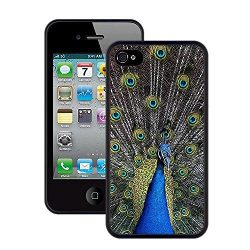 Pfau | Handgefertigt | iPhone 4 4s | Schwarze Hülle