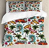 Funy Decor Ocean Bedding Set,Hawaiian Surfer on Wavy Deep Sea Retro Style Palm Trees Flowers Surf Boards Print,4 Piece Duvet Cover Set Bedspread for Childrens/Kids/Teens/Adults,Multicolor Twin Size