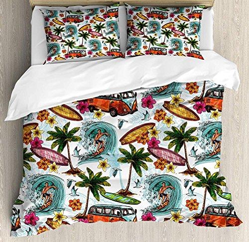 Funy Decor Ocean Bedding Set,Hawaiian Surfer on Wavy Deep Sea Retro Style Palm Trees Flowers Surf Boards Print,4 Piece Duvet Cover Set Bedspread for Childrens/Kids/Teens/Adults,Multicolor Twin Size - Hawaiian Bedding Print