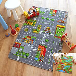Reversible Road Map Farm Animal Cars Rug Play Mat 80cm X 120cm (2u00276 X 4u0027  Approx) By The Good Rug Company