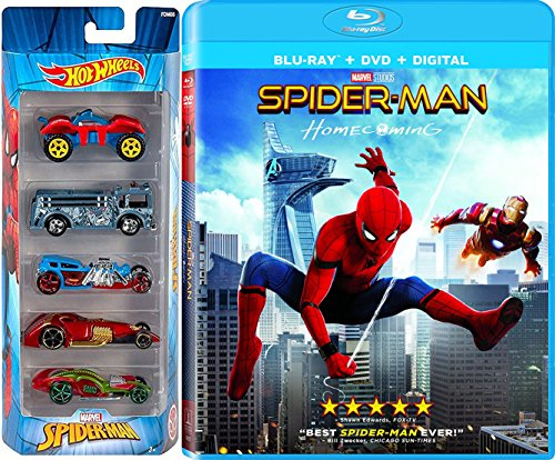 Spider-Man Hot Wheels Homecoming Pack Movie Blu Ray + DVD Marvel 5 Battle cars Super hero set