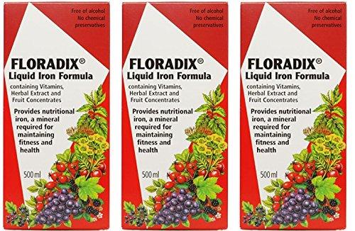 Floradix Formula Iron - (3 PACK) - Floradix - Floradix Liquid Iron Formula | 500ml | 3 PACK BUNDLE