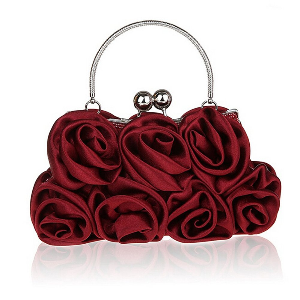 (Wine Red) Women Elegant Satin Rose Evening Handbag Clutch Bag (Wine Red) B01NA08NRXワインレッド