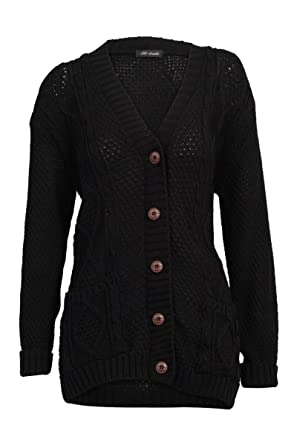 d2e8e1484 52I New Womens Casual Chunky Knitted Aran Button Up Ladies Cardigan