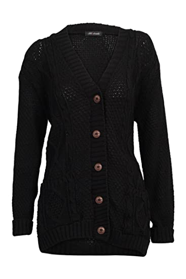 e9ae860fd6 52I New Womens Casual Chunky Knitted Aran Button Up Ladies Cardigan   Amazon.co.uk  Clothing