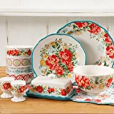 The Pioneer Woman Vintage Ruffle Linen 20-Piece Dinnerware Set (Floral)