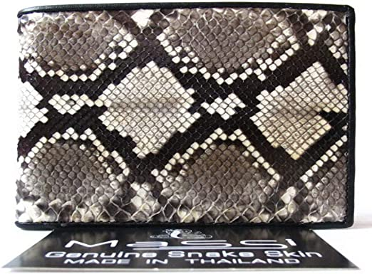 Genuine Real Snake Skin Leather Man Bifold Natural Wallet
