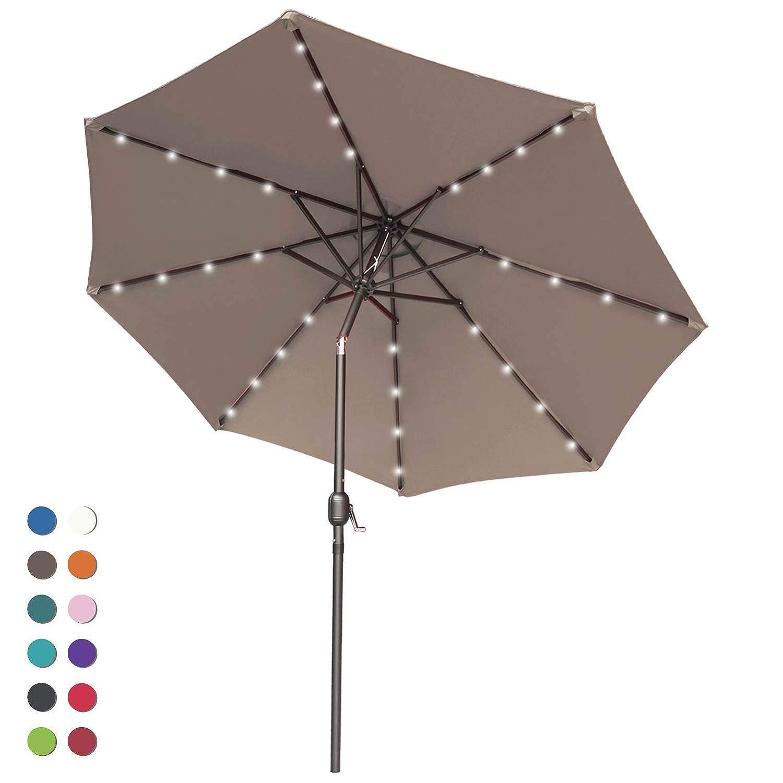 ABCCANOPY Solar Umbrellas Patio Umbrella In Grey