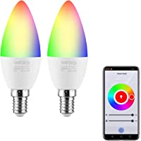 LED Candelabra Bulbs E14 Base, Color Changing and White 2700K-6500K Dimmable Smart Light Bulb, Compatible with Alexa…
