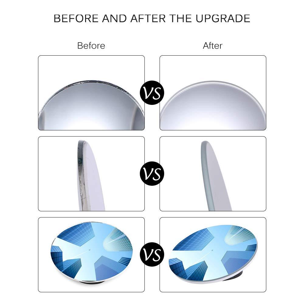 Sunsbell Espejo retrovisor transparente para autom/óvil Punto ciego gran angular