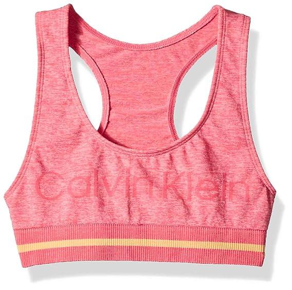 b823a3479d1 Calvin Klein Girls' Seamless Sports Bra Base Layer, Ck Heather Norman, Large