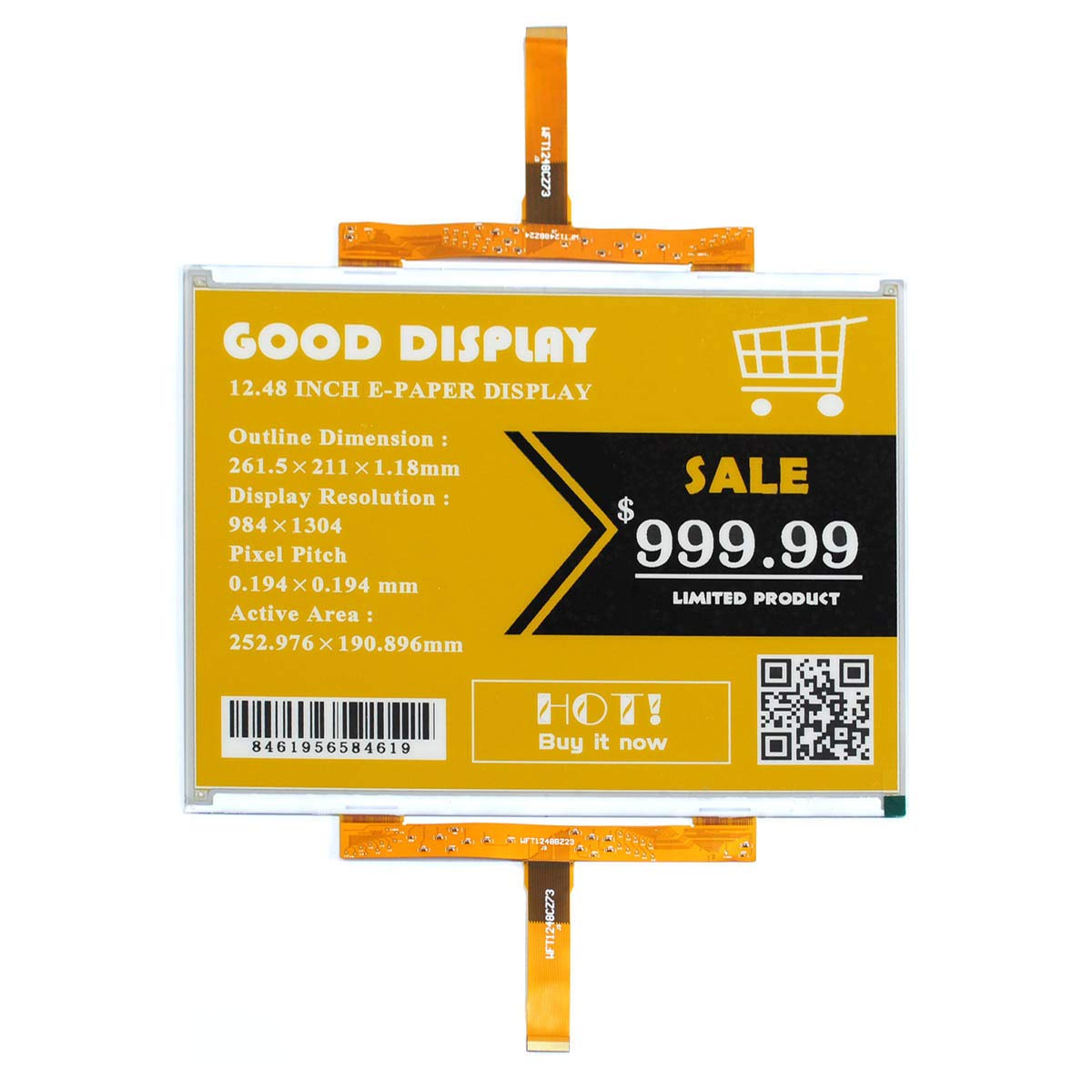 GooDisplay 12.48 Inch Color Large E-Paper Screen Eink Display Electronic Paper Display Panel Black White Yellow