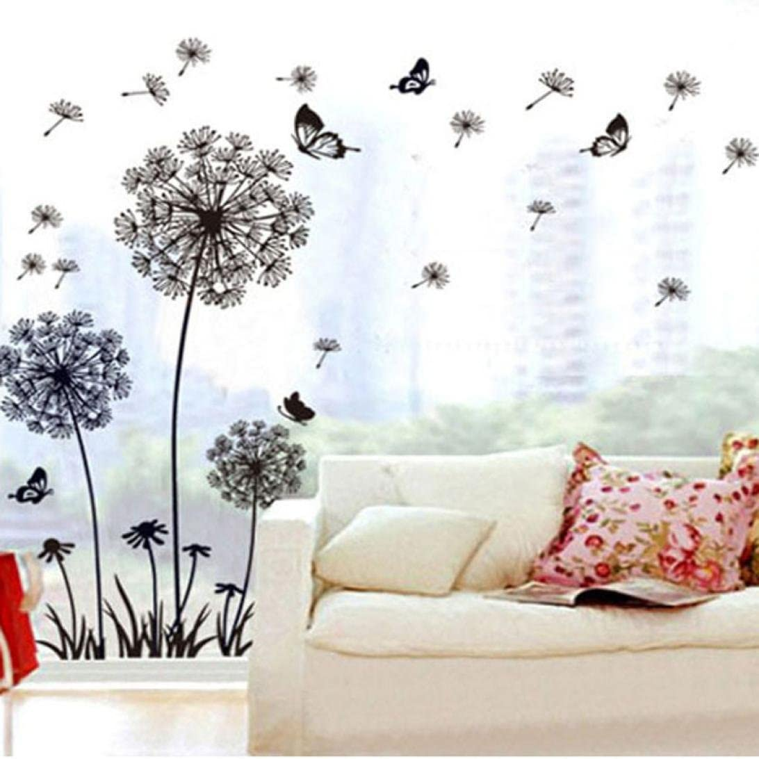 PandaLily Wall Stickers /& Murals Home D/écor Dandelion Butterfly Wall Sticker Bedroom Adornment Art Decals Home Decoration Black