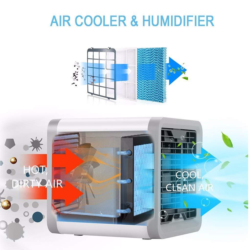 Uni-Wert Mini Aire Acondicionado M/óvil Port/átil Enfriador de Aire 3 en1 Air Cooler Humidificador Purificador de Aire USB 3 Velocidades 7 Colores LED Luz Climatizador Evaporativo para Casa Oficina