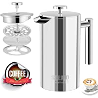 Seemo French Press Coffee Maker 1L Stainless Steel 304 Double-Layer Coffee Pot Easy to Clean for Home Office 4 to 8 Cup 34oz