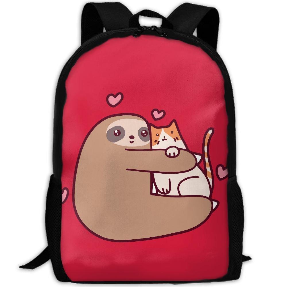面白い動物Sloth Loves Cat interest印刷カスタムユニークカジュアルバックパックスクールバッグ旅行用デイパックギフト B0791B69RM