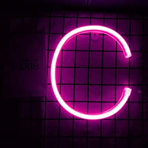 Smilco Light Up Marquee Letter Neon Sign,Pink 26 Alphabe Wall Decor Number with USB and Battery Powered Lights for Wedding Birthday Cheristmas Party Bedroom Decoration (C)