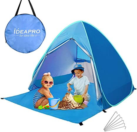 Pop Up Beach Tent, Ideapro 2 3 Person Quick Automatic Instant Beach Tent Anti UV Sun Shade Outdoor Camping Tent Waterproof Beach Shelter for Fishing,