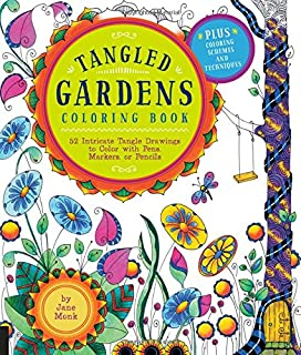 tangled gardens coloring book 52 intricate tangle drawings to color with pens markers - Tangled Coloring Book
