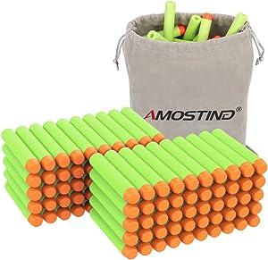 AMOSTING Refill Darts 100PCS Bullet for Nerf N-Strike Elite Zombie Strike Rebelle - Green with Storage Bag