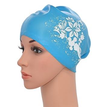 9f2d398584e1 medifier Mujeres Ladies piscina de agua silicona elástica Gorro de natación  Gorra Ear Wrap gorro para pelo largo adultos diseño de flores