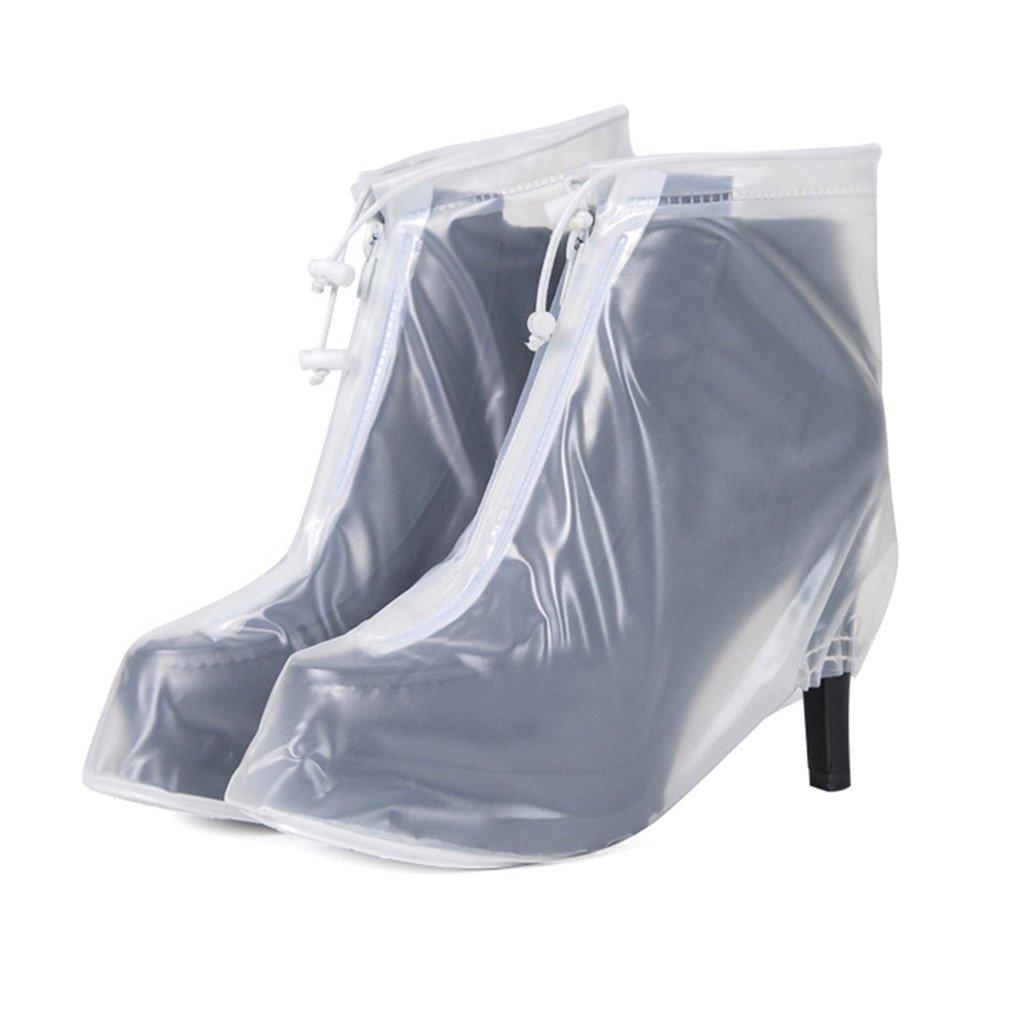 PVC High Heels Waterproof Shoe Covers Protection Reusable Shoe Cover Women White(36-37)