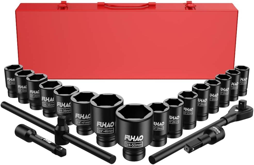 | Cr-V Steel Wrench Jumbo Socket Set w//Metal Case 21 Piece Shallow Impact Master Socket Set| Standard Metric Sizes Fuhao 3//4 Drive 6-Point Impact Socket Set 21-50 mm