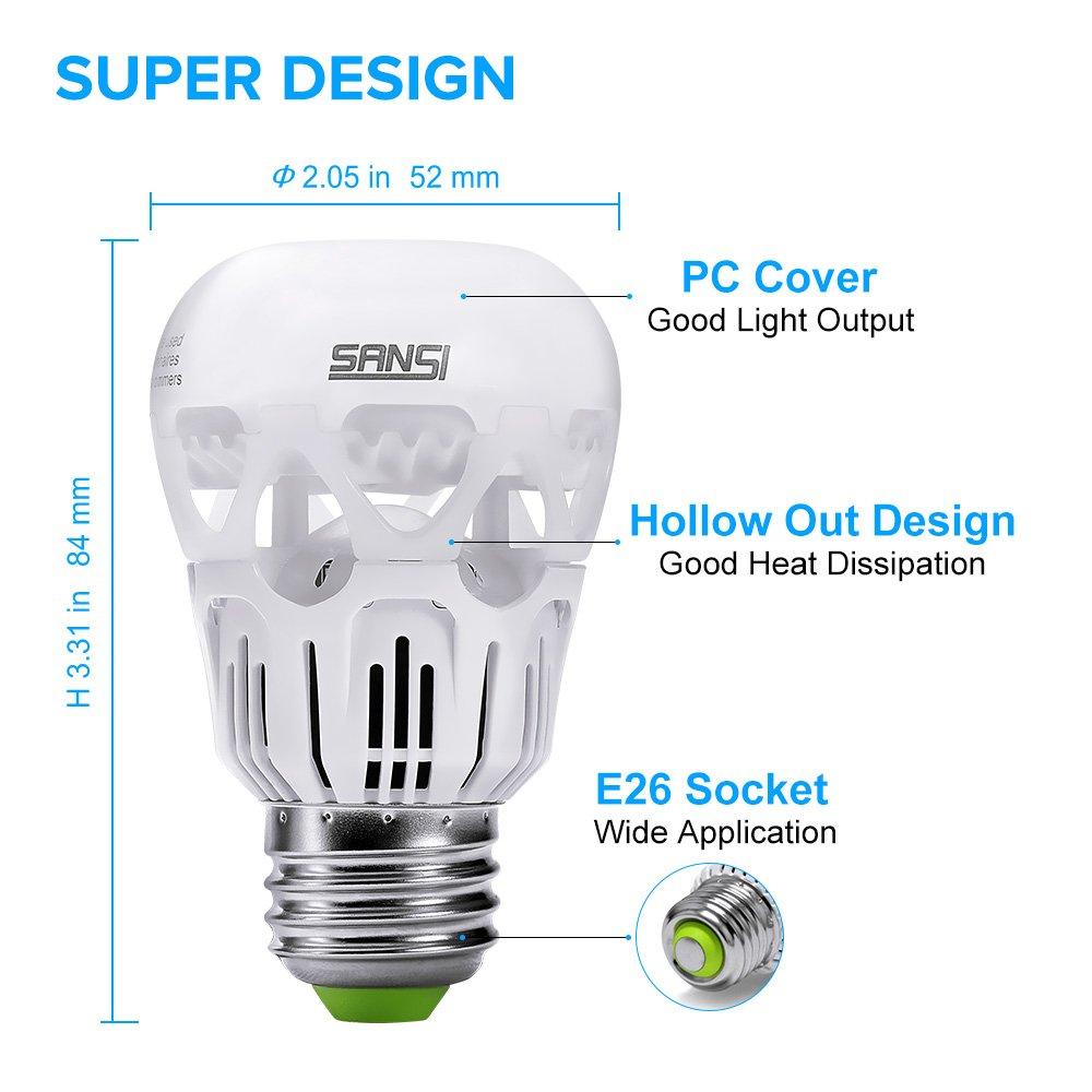 SANSI 40 watt Light Bulbs 5w LED Bulb Equivalent 40w Incandescent Bulb Daylight 5000k Cool White A15 LED Bulb E26 Base 500 Lumen Non-dimmable Energy Saving Bulb for Fans Lamps 5-Year Warranty (6-Pack) by SANSI (Image #5)
