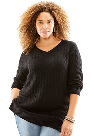 dda617647c7bd Woman Within Plus Size Cable Knit V-Neck Pullover Sweater - Black ...