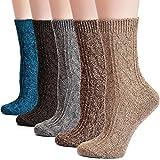 Field4U Women's Wool Knit Winter Socks 5-Pack - Twist,Medium