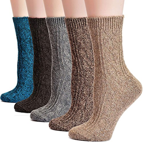 Socks Knit (Field4U Women's Wool Knit Winter Socks 5-Pack - Twist,Medium)