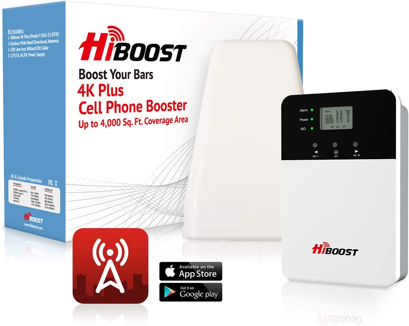 HiBoost 4K Plus Cell Phone Signal Booster Kit for Home or Office | Up to 4,000 sq ft of Coverage | for All U.S. Carriers Verizon, AT&T, T-Mobile, Sprint