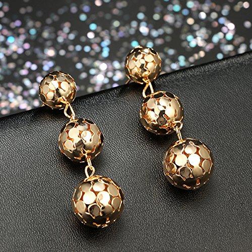 CHOA Steel Ball Dangle Earrings Gold Silver Ball Fringe Dangle Earrings