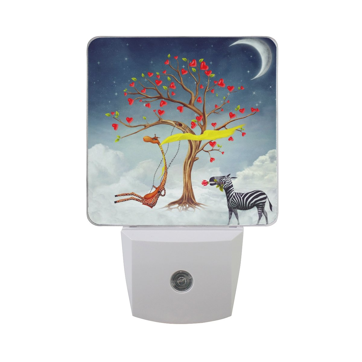 JOYPRINT Led Night Light Romantic Giraffe Zebra Flower Tree, Auto Senor Dusk to Dawn Night Light Plug in for Kids Baby Girls Boys Adults Room