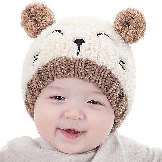 9e9f816d42d Amazon.com  Xiaohua Baby Hat Boy Girls Cute Warm Knit Bear Hat Toddler Kid  Winter Crochet Beanie Cap (Beige)  Clothing