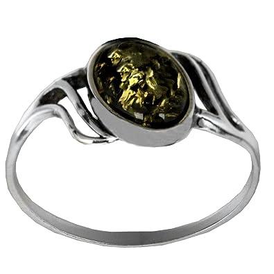 6ebbc7cc5 Green Amber Sterling Silver Oval Ring: Noda: Amazon.co.uk: Jewellery