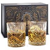 钻石切割威士忌*杯 2 件套 - 老式无铅水晶玻璃杯,适用于威士登 Scotch 或Rum - 令人惊叹的工艺,加权人体工程学设计 - 男士礼品配件