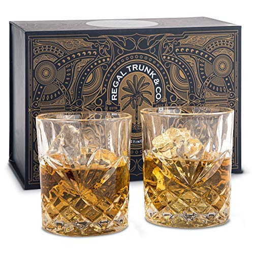 Elegant Whiskey Glass Set of 2 in a Spectacular Gift Box by Regal Trunk & Co. | 10 Oz Old Fashioned Lead Free Whiskey Glasses Set for Whisky Bourbon Scotch or Rum | Gifts for Men | Diamond Cut Design