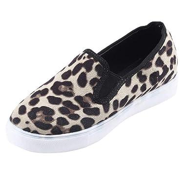 4bcd3d849824 DENER❤ Women Ladies Slip on Loafers,Suede Leopard Round Toe Wide Width  Comfort