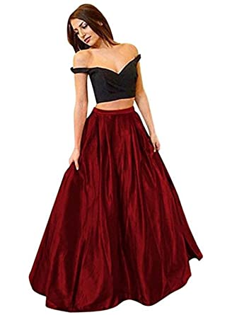 7b05c9a716e XingMeng Simple Two Piece Satin Off Shoulder Prom Dress Long Evening Gown  Burgundy