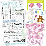 Baby Shower Stickers Set Girl -- Over 140 Deluxe Stickers for Baby Shower Decorations and Favors